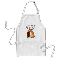 Funny Cool Reindeer Opening Christmas Gifts Adult Apron