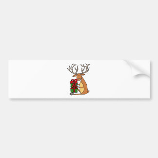 Funny Cool Reindeer Opening Christmas Gifts Bumper Sticker