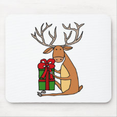 Funny Cool Reindeer Opening Christmas Gifts Mouse Pad