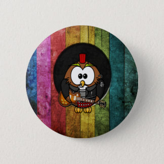 Funny cool rock&roll owl with piercings playing button