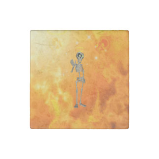 Funny, cool skeleton with nimbus stone magnet