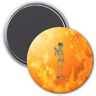 Funny, cool skeleton with nimbus fridge magnet