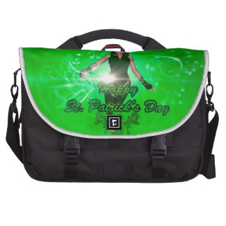 Funny, cool St. Patrick's Day girl with hat Laptop Bag