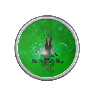 Funny, cool St. Patrick's Day girl with hat Bluetooth Speaker