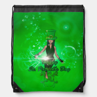 Funny, cool St. Patrick's Day girl with hat Drawstring Bags