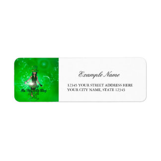 Funny, cool St. Patrick's Day girl with hat Return Address Label
