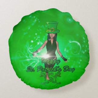 Funny, cool St. Patrick's Day girl with hat Round Pillow