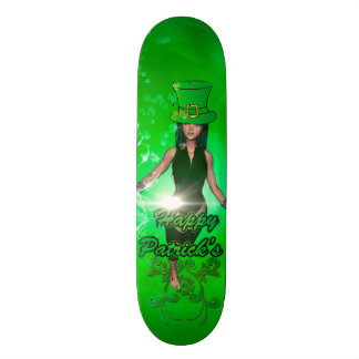 Funny, cool St. Patrick's Day girl with hat Skateboard