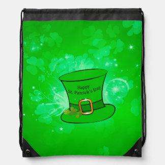 Funny, cool St. Patrick's Day hat Drawstring Bag