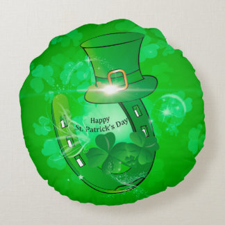 Funny, cool St. Patrick's Day hat Round Pillow