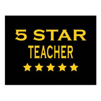 Funny Cool Teachers : Five Star Teacher Postcard