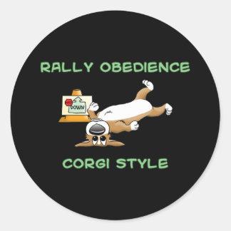 Funny Corgi Rally-o Cartoon Classic Round Sticker