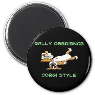 Funny Corgi Rally-o Cartoon Refrigerator Magnet