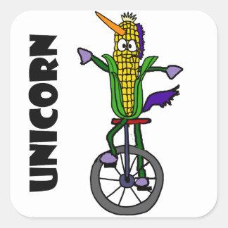 Funny Corn ear Riding Unicycle UNICORN Cartoon Square Sticker