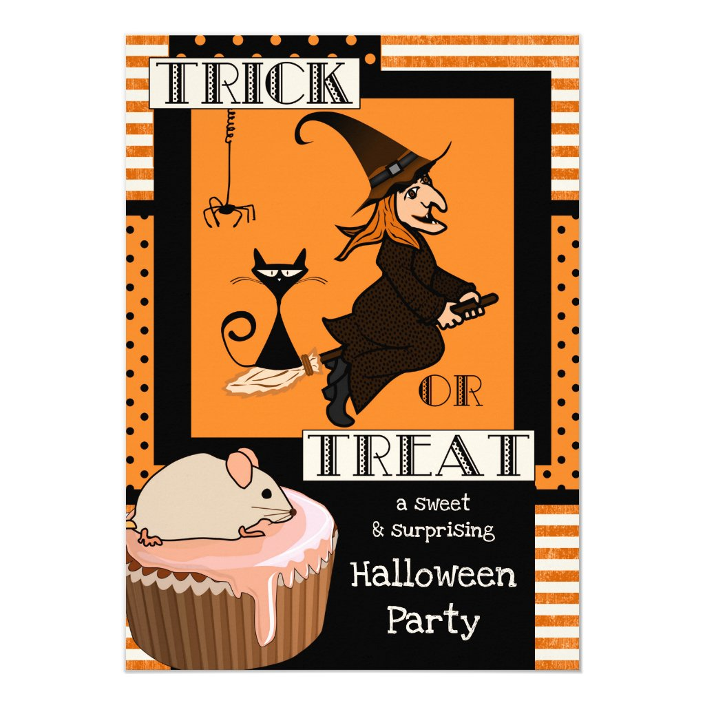 Funny Costume Witch Kids Halloween Party Invite