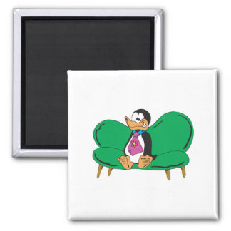 funny couch penguin 2 inch square magnet