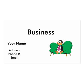 funny couch penguin Double-Sided standard business cards (Pack of 100)