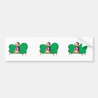 funny couch penguin car bumper sticker