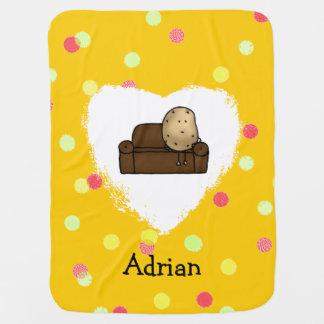 funny couch potato cartoon stroller blanket