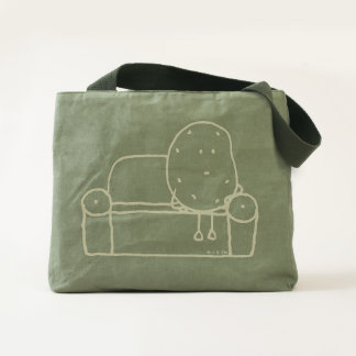 funny couch potato cartoon tote