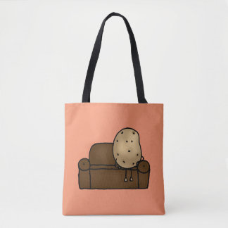 funny couch potato cartoon tote bag