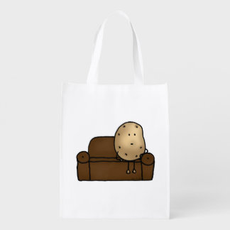 Funny couch potato grocery bag
