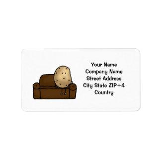 Funny couch potato return address label