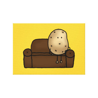 Funny couch potato stretched canvas print