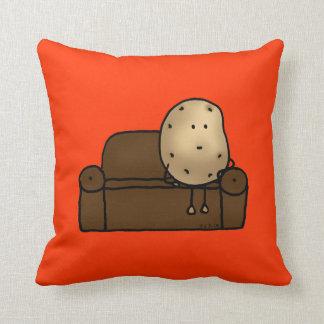 Funny couch potato throw pillow