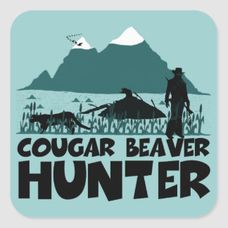 Funny cougar square sticker