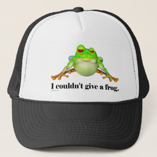 Funny Couldn't Give a Frog Cartoon Trucker Hat