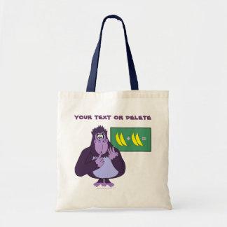 Funny Counting Gorilla Math Custom Budget Tote Bag