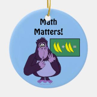 Funny Counting Gorilla Math Custom Ceramic Ornament