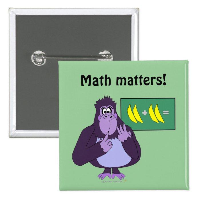 Funny Counting Gorilla Math Custom Pinback Button