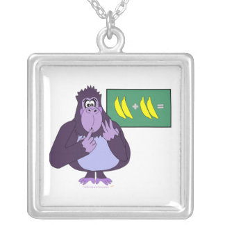 Funny Counting Gorilla Math Custom Silver Plated Necklace