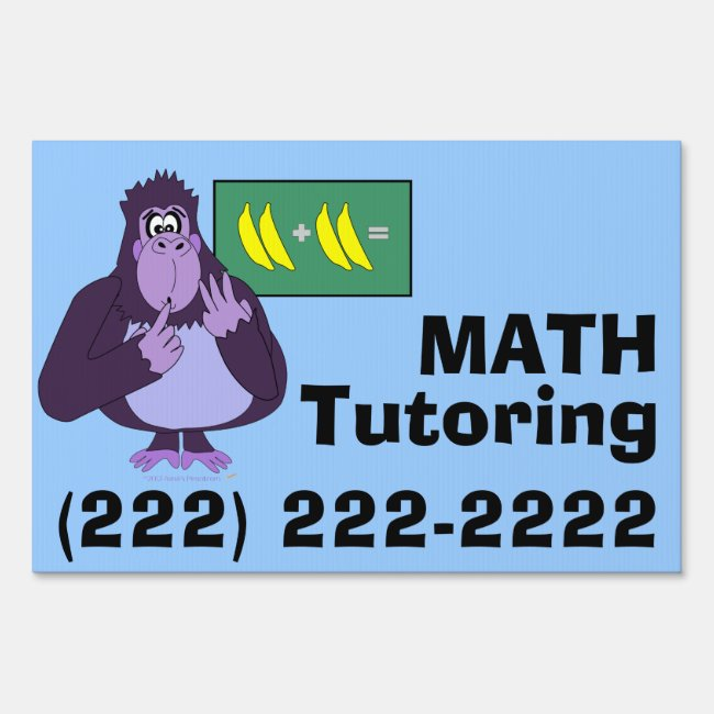 Funny Counting Gorilla Math Tutoring Custom Sign