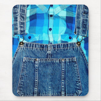 Funny Country Bumpkin Denim Overalls and Plaid Mouse Pad