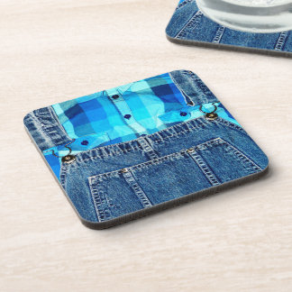 Funny Country Bumpkin Jean Overalls Beverage Coaster