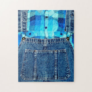 Funny Country Bumpkin Jean Overalls Jigsaw Puzzle