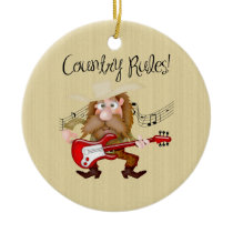 Funny Country Music Guitarist Ceramic Ornament