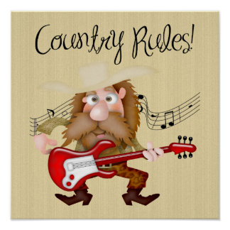 Funny Country Music Guitarist Poster