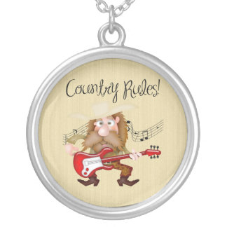 Funny Country Music Guitarist Silver Plated Necklace
