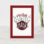 Funny COVID-19 MERRY ChristMASK Buffalo Check Holiday Card