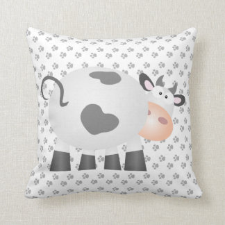 Funny Cow And Black And White Paw Print Pattern Throw Pillow