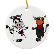 Funny Cow and Bull Wedding Ceramic Ornament