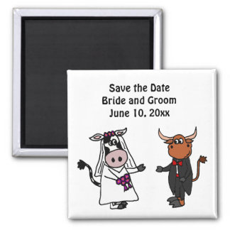 Funny Cow and Bull Wedding Design Magnet