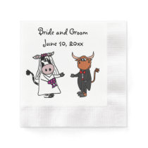 Funny Cow and Bull Wedding Design Paper Napkin
