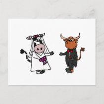 Funny Cow and Bull Wedding Postcard