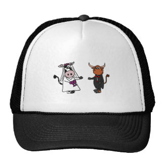 Funny Cow and Bull Wedding Trucker Hat