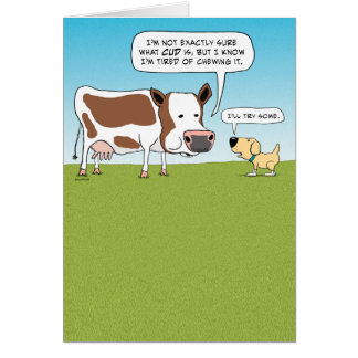 Funny Cow and Dog Birthday Card